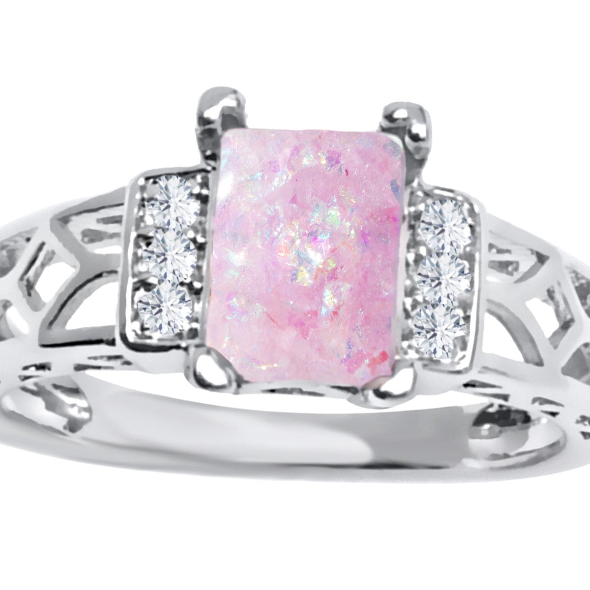 Rhodium Plated and Pink Opal Resin Baguette-cut Ring - Free Shipping ...