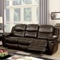 Furniture of America Ellister Transitional Brown Bonded Leather Match Reclining Sofa
