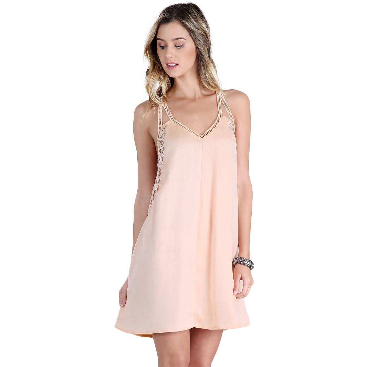 Shop Nikibiki Women\'s Sand/Beige Satin Lace-insert Slip Dress - Free ...