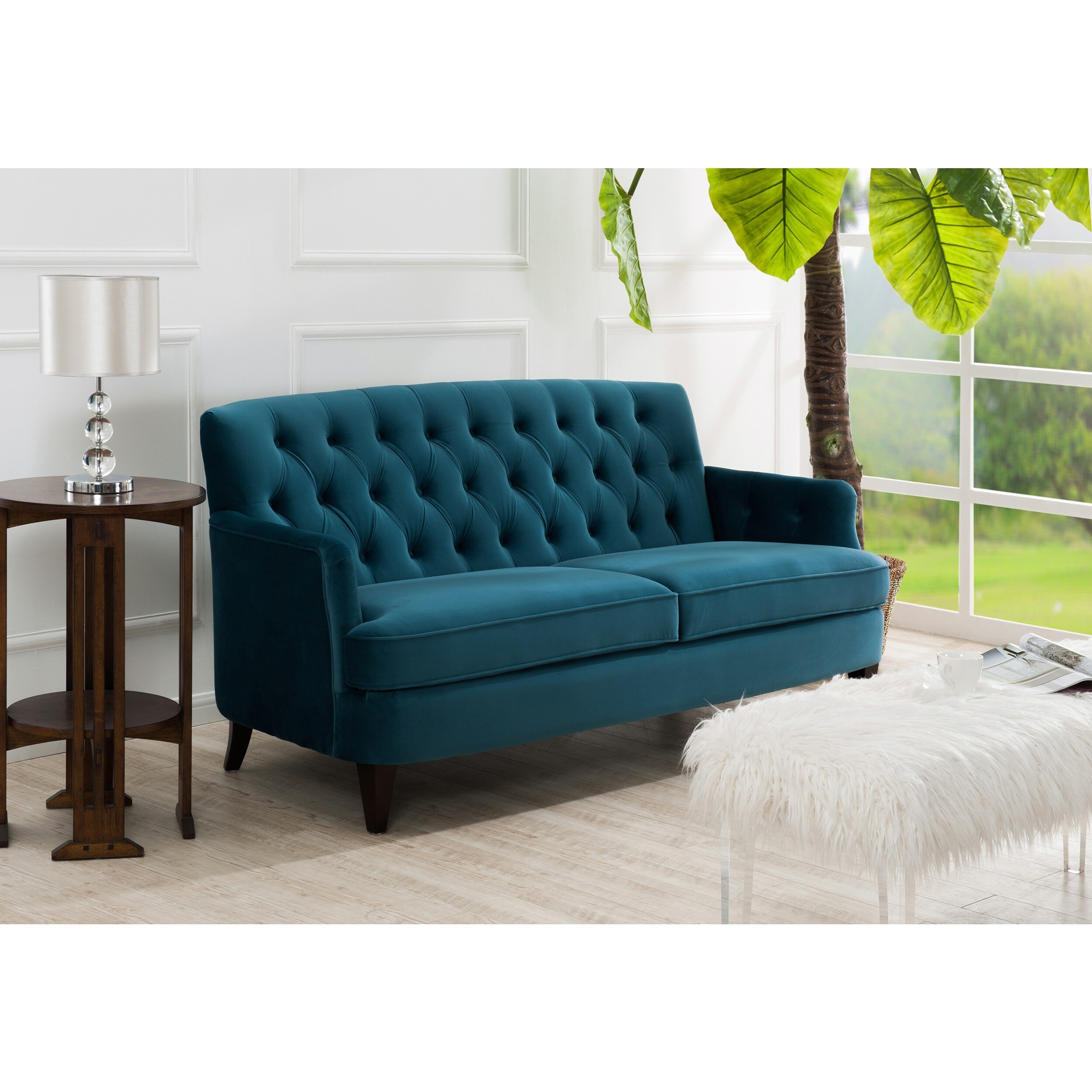 Shop Jennifer Taylor Kelly Tufted Sofa   On Sale   Free Shipping Today    Overstock.com   12635951