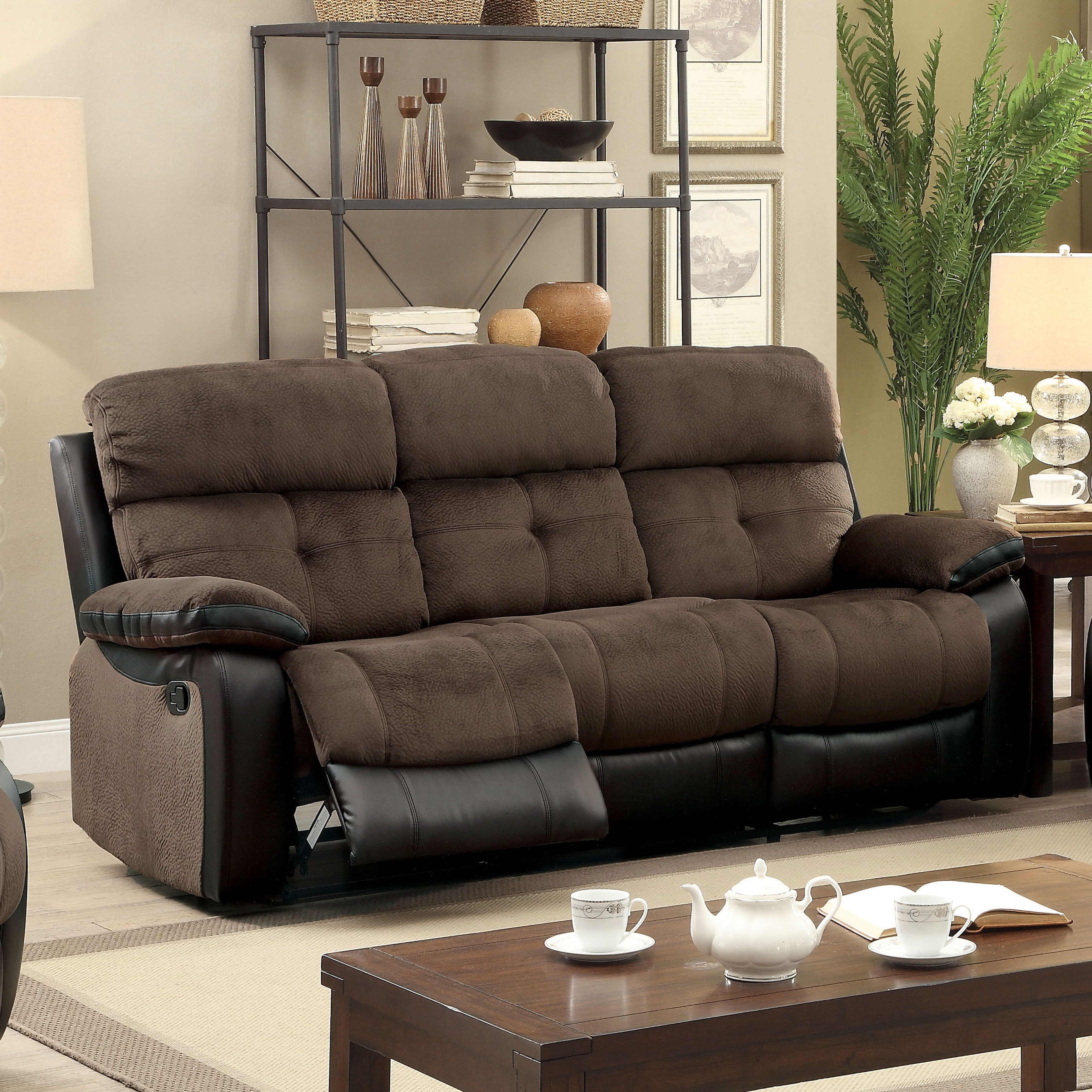 Shop Furniture Of America Fawnie Two Tone Champion Fabric/Leatherette  Reclining Sofa With Console   Free Shipping Today   Overstock.com   12636799