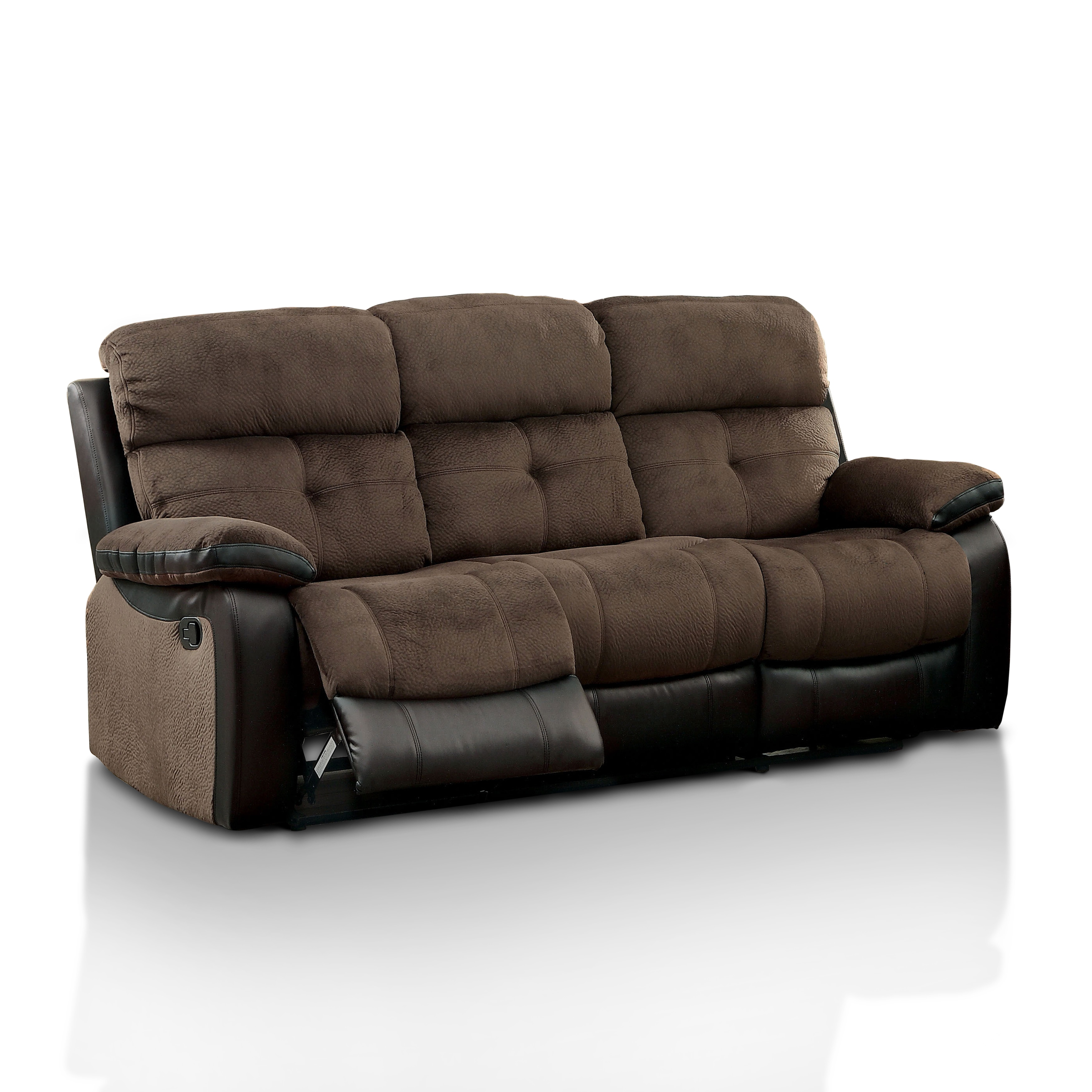 Furniture Of America Fawnie Two Tone Champion Fabric Leather Reclining Sofa With Console Free Shipping Today 12636799