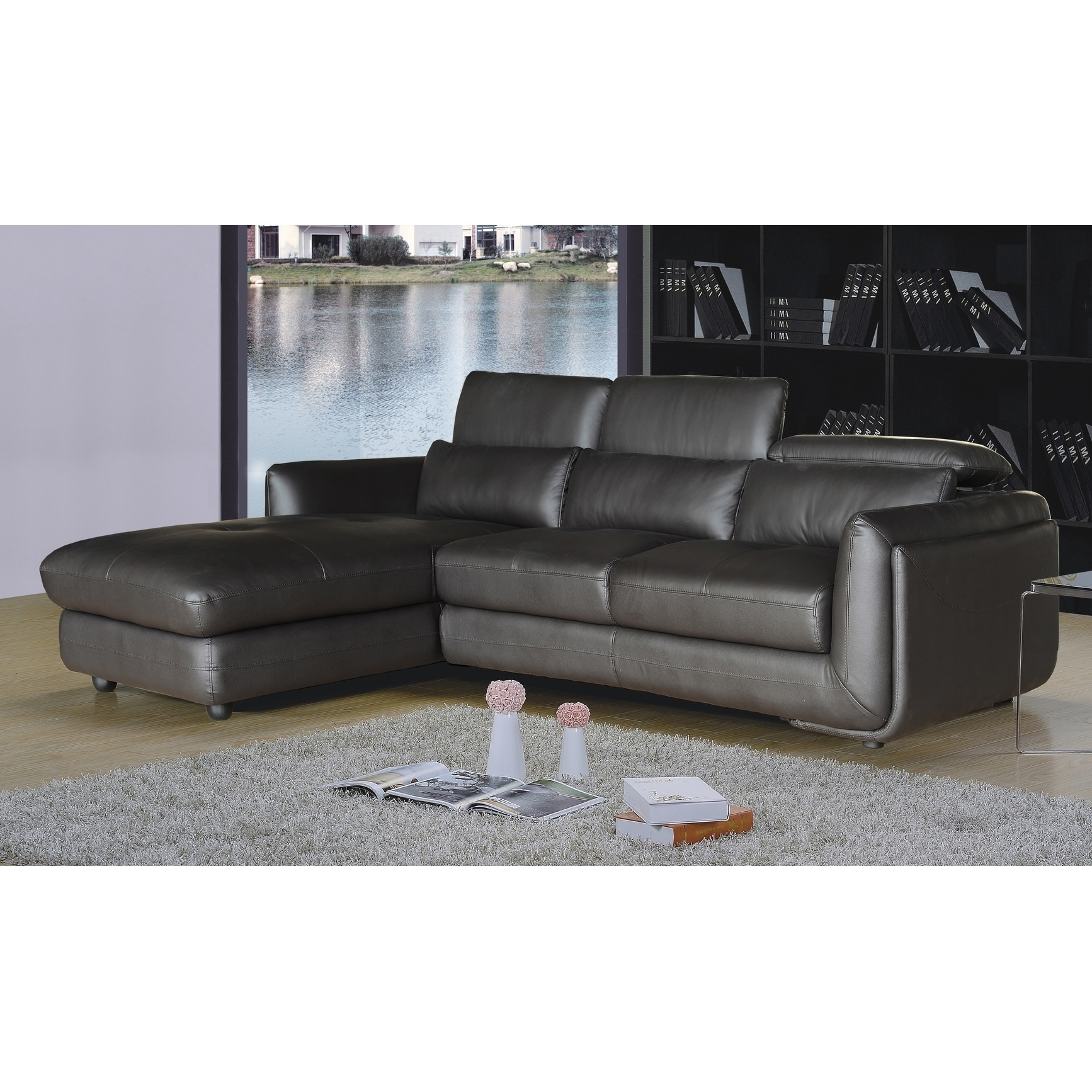 Genial Shop Ron Modern Brown Leather 2 Piece Sofa And Chaise Sectional   On Sale    Free Shipping Today   Overstock.com   12637168