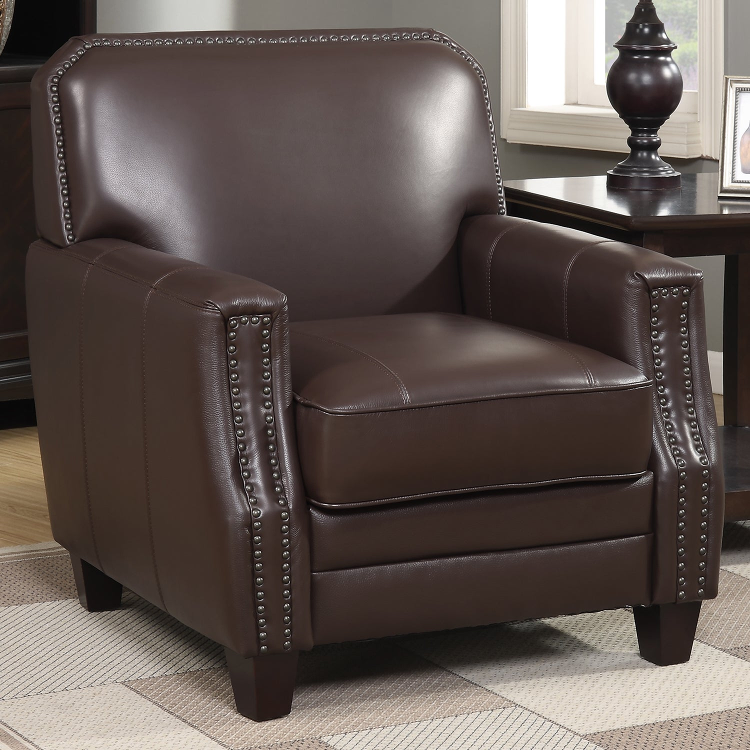 Full-grain Leather Club Arm Chair - Free Shipping Today - Overstock.com -  19428766