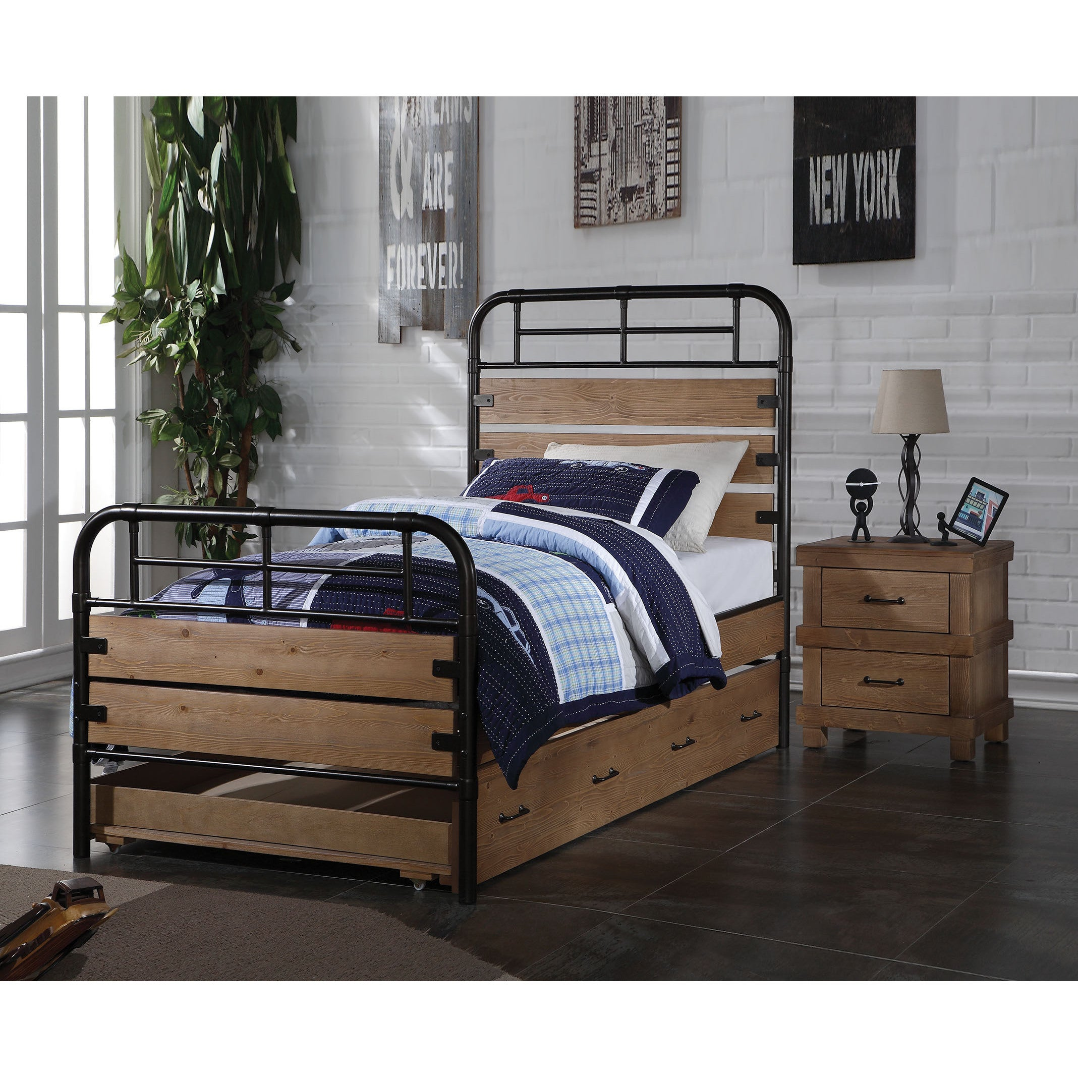 Adams Industrial Twin Bed with Optional Trundle, Antique Oak - Free ...