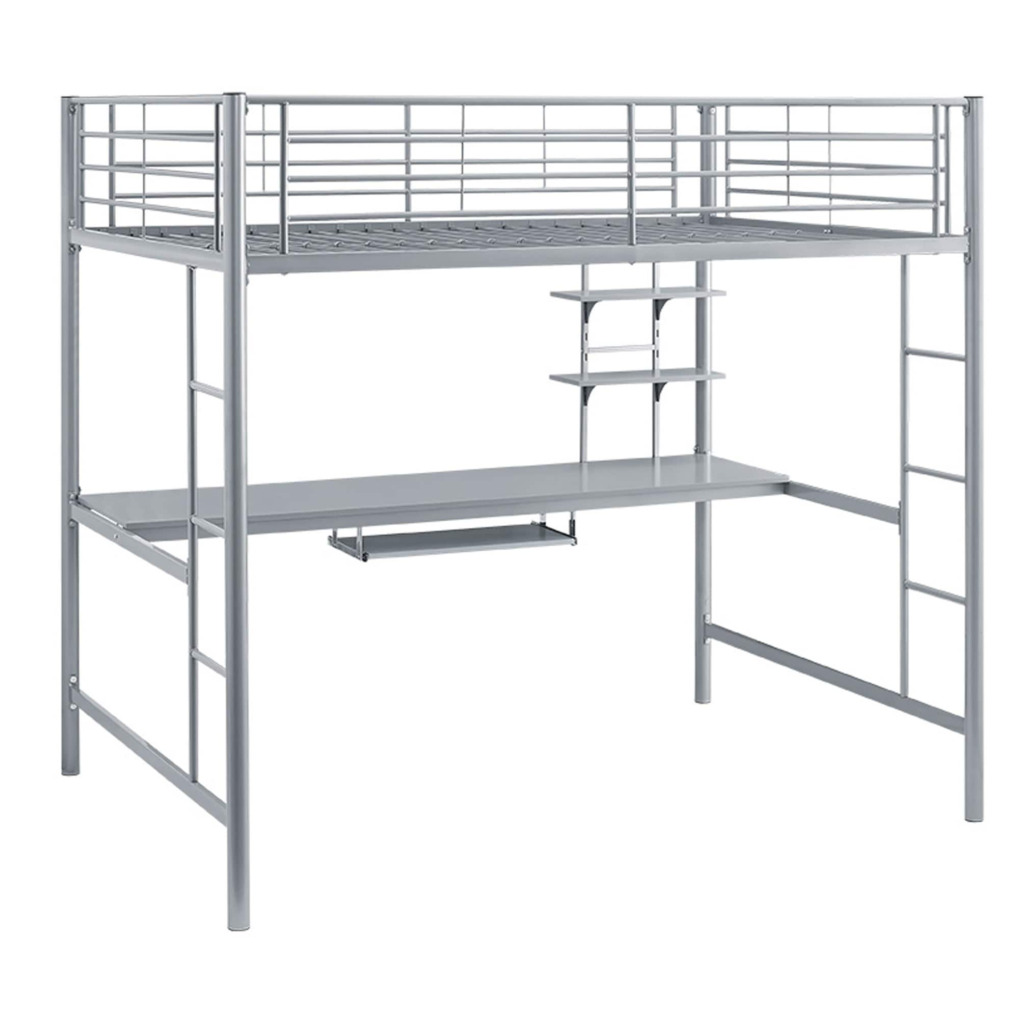 Shop Silver Metal Full Loft Bed with Desk - On Sale - Free Shipping ...