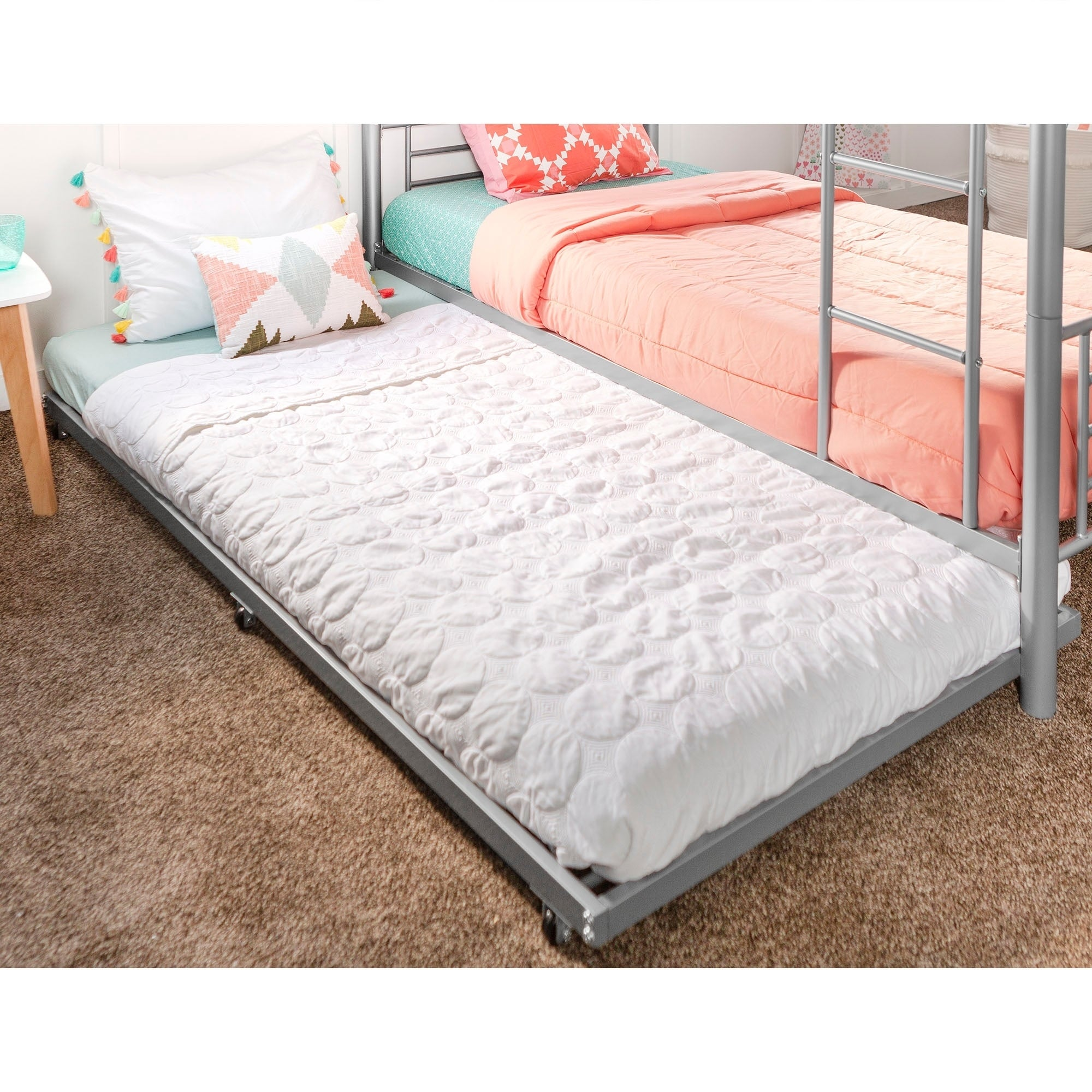 Shop Metal Roll Out Twin Trundle Bed Frame Silver Free Shipping