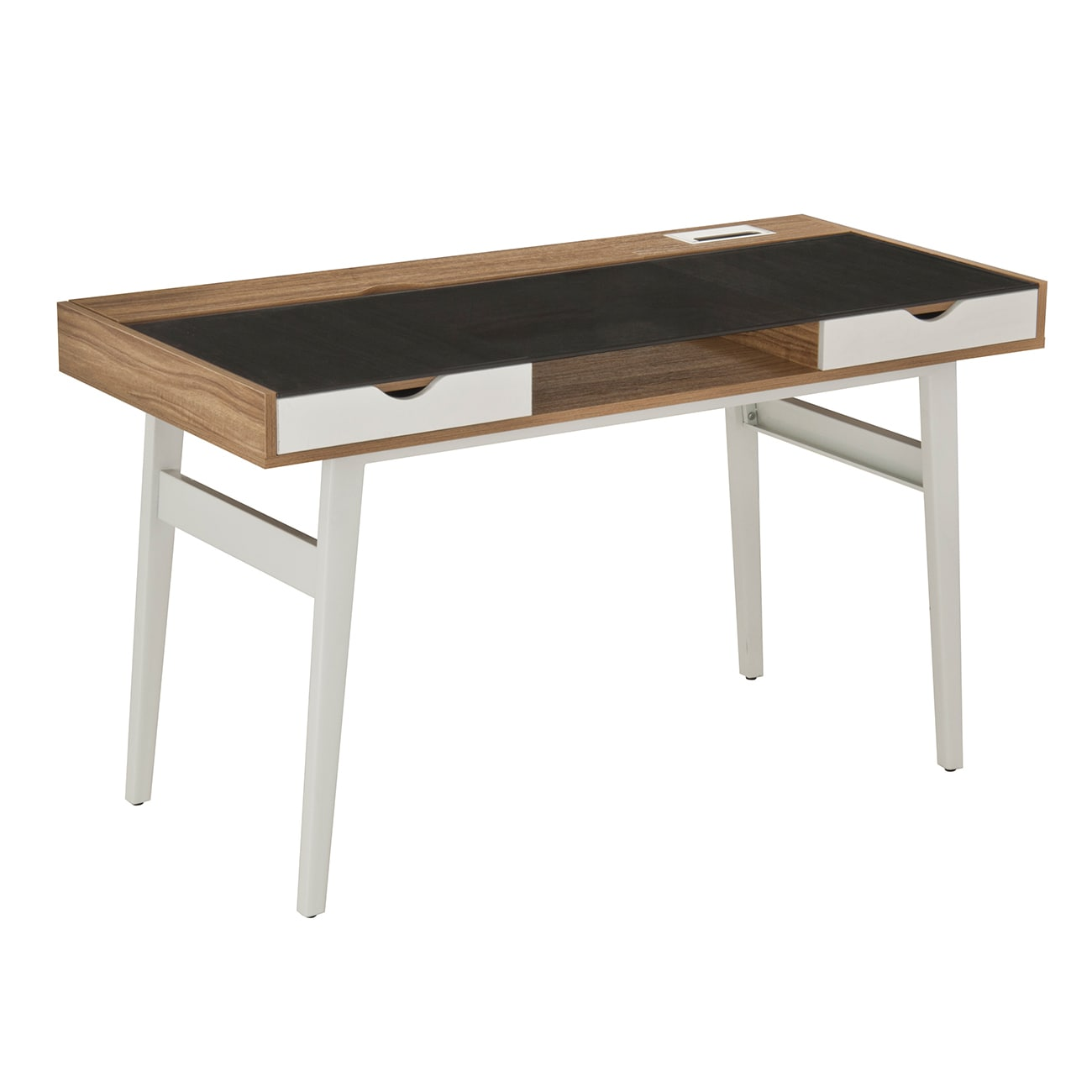 Shop mordern designs walnut compact computer desk with storage drawers free shipping today overstock com 12637286