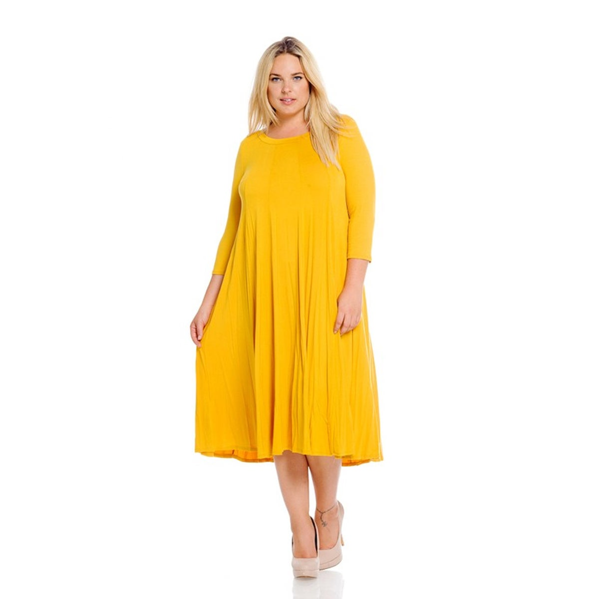 Shop Women\'s Mustard Plus-size Dress - On Sale - Free Shipping On ...
