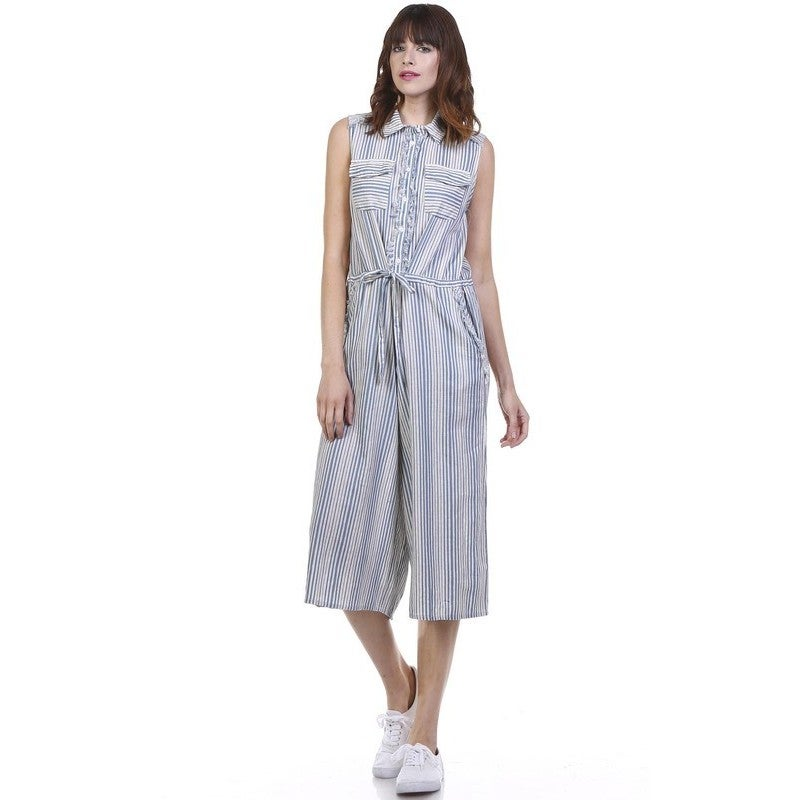 6ef60559d3e8 Shop JED Women s Blue White Striped Button-down Sleeveless Culottes Jumpsuit  - Free Shipping On Orders Over  45 - Overstock - 12637654