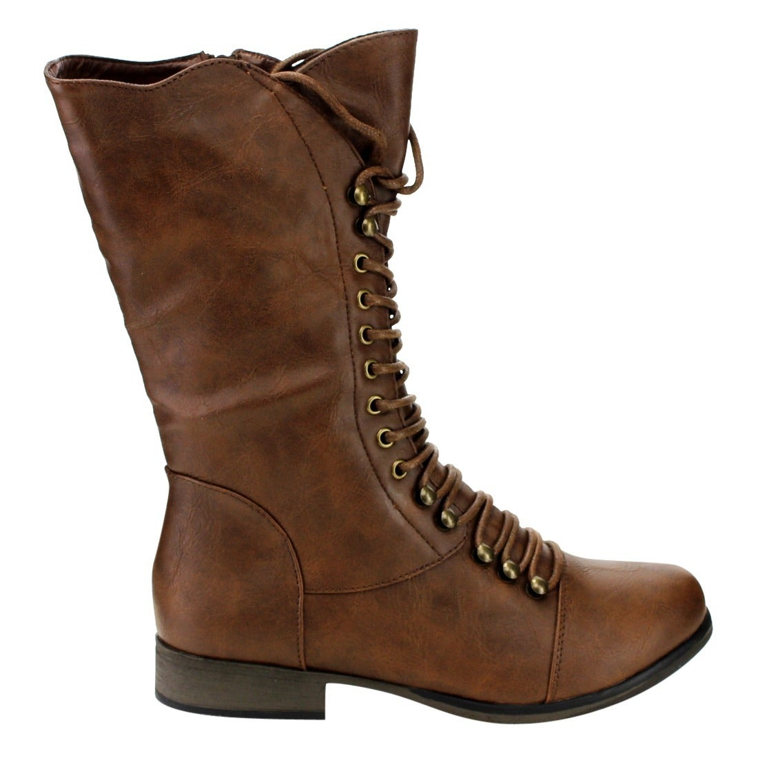 e99417628f3 Forever GE09 Women's Mid-calf Lace-up Low-heel Zip-up Combat Boots