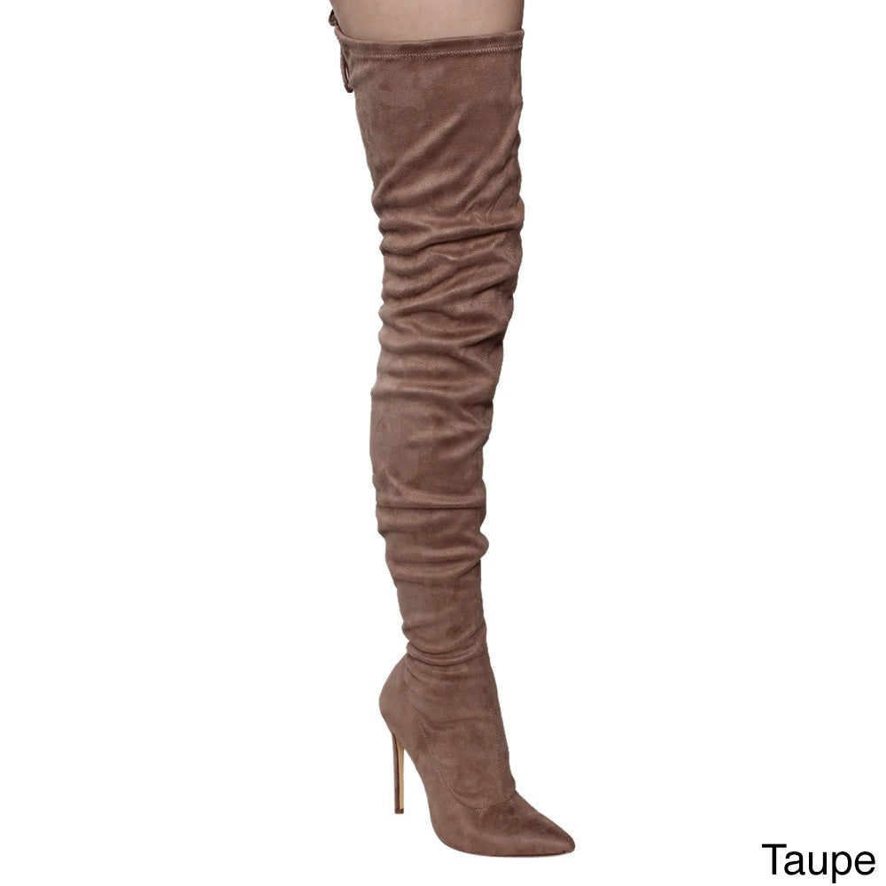 485b24efd Shop Liliana Women's Faux Leather Pointy Toe Drawstring Thigh High Stiletto  Boots - Free Shipping Today - Overstock - 12637945