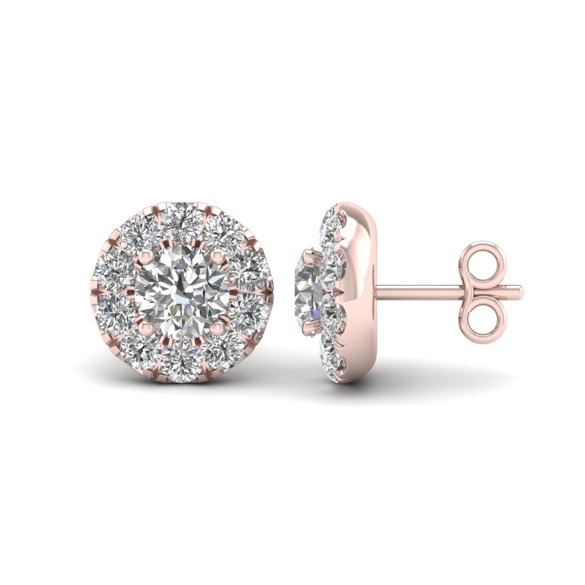earrings rondels products stud halo diamond morganite rose gold with