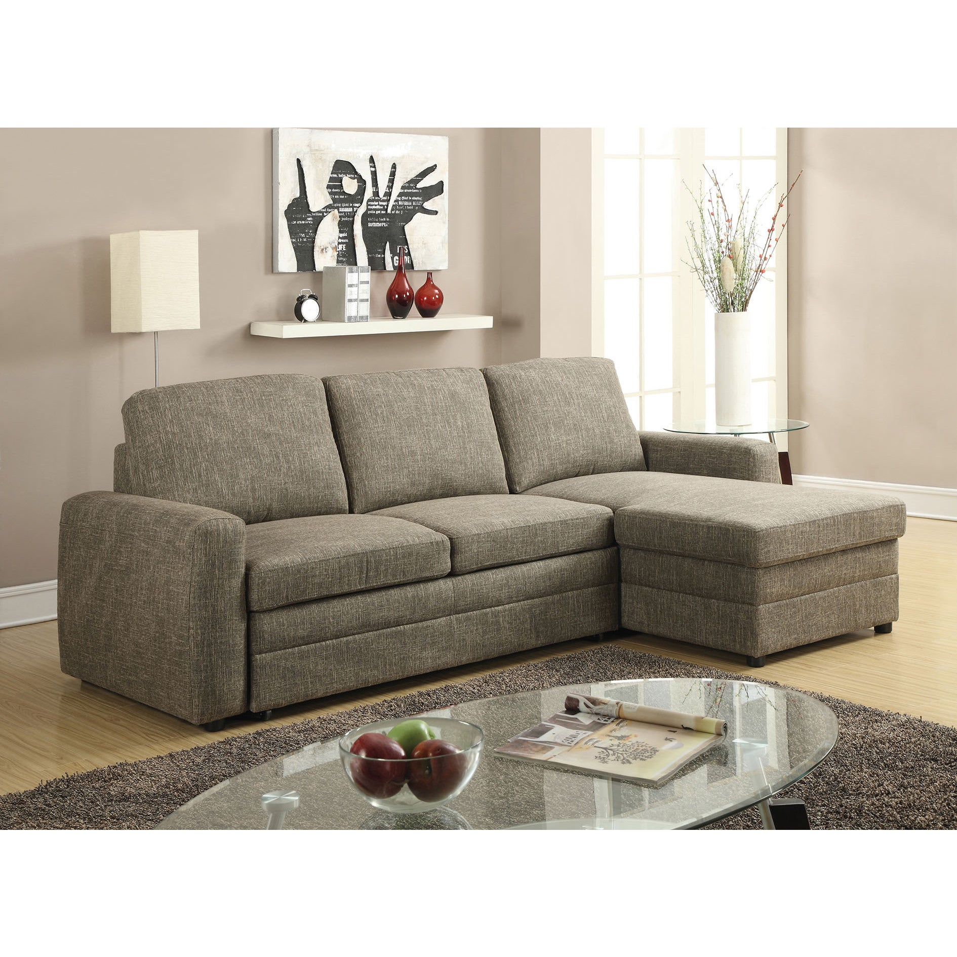 Derwyn Sectional Sofa With Pull Out Bed Light Brown Linen Free Shipping Today 12647775