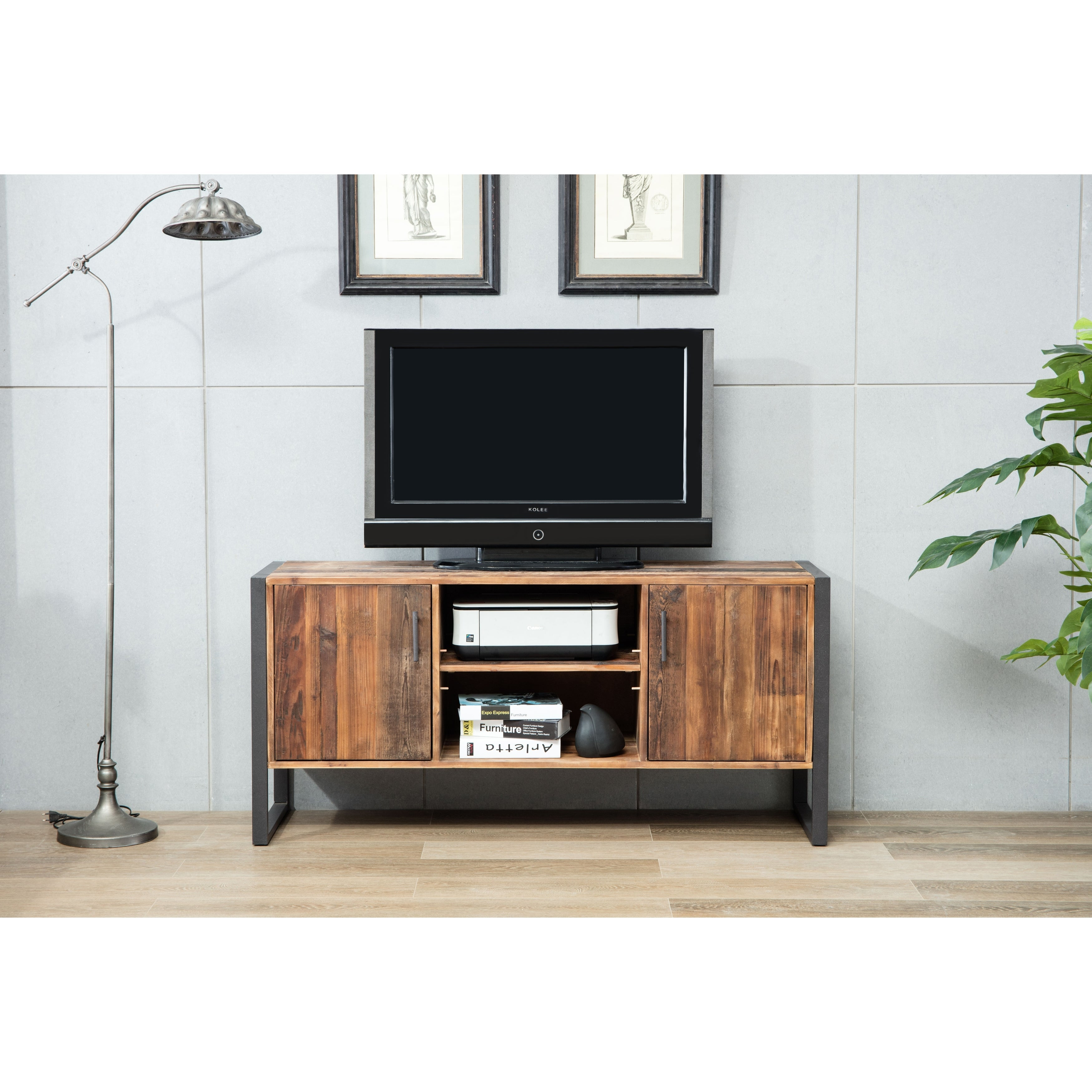 Shop Ruffalo Urban Rustic Wood And Metal Tv Media Console On Sale