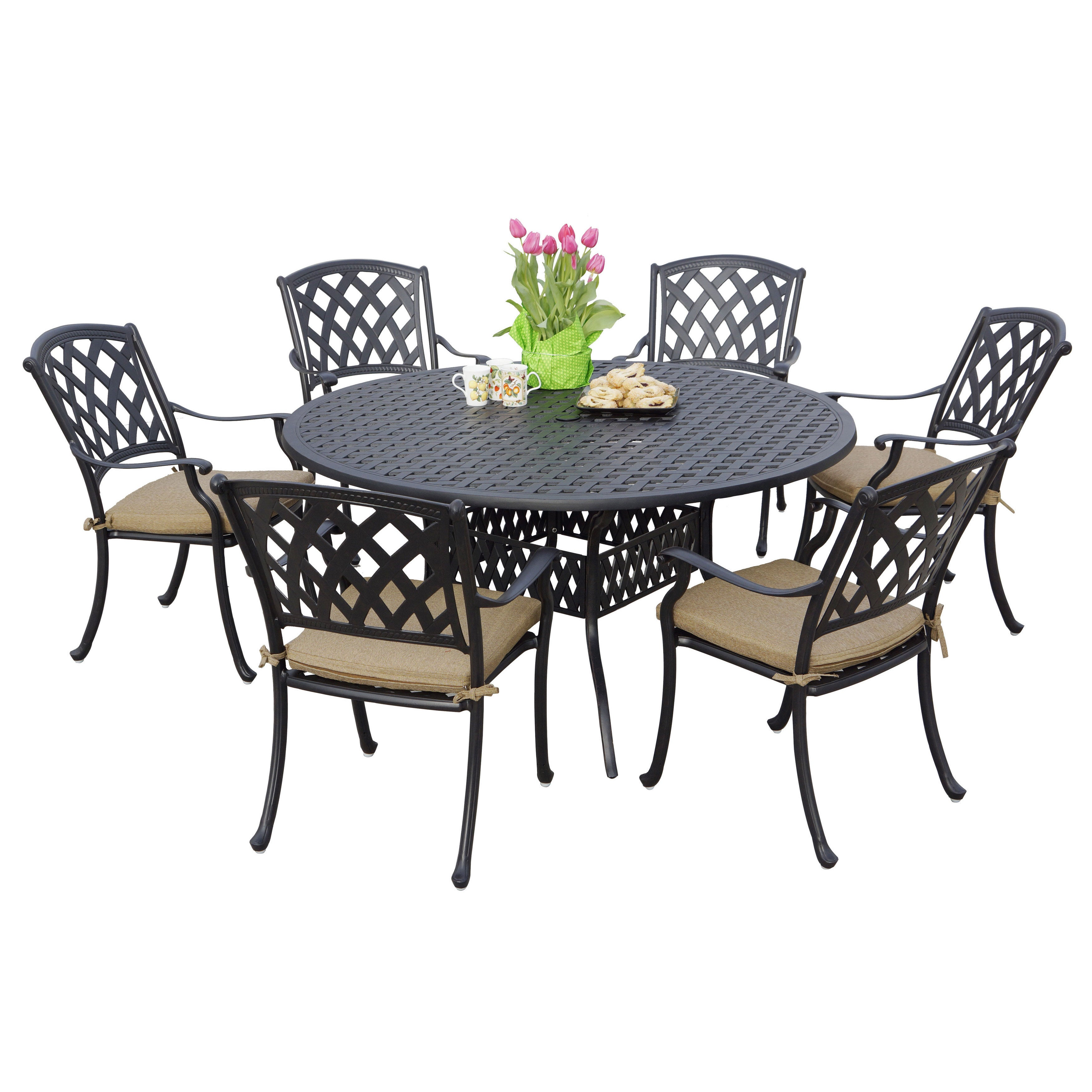 Darlee Ocean View Antique Bronze Cast Aluminum Round 7 Piece Dining Set    Free Shipping Today   Overstock   19439910