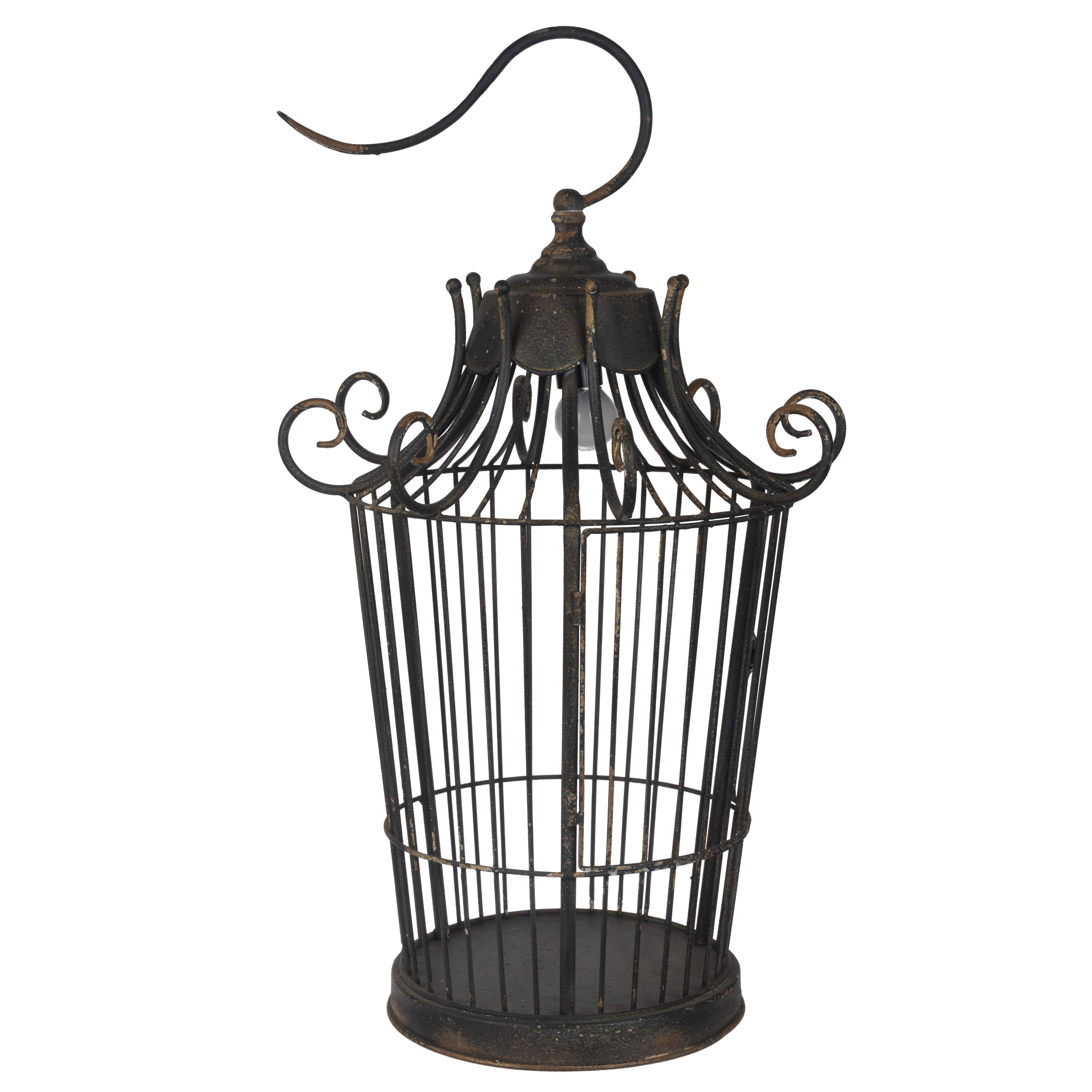 Shop Black Metal 60 Watt Birdcage Table Lamp On Sale Free