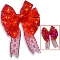 Red Bow 9-inch Tree Topper with Dual-color LED Lights