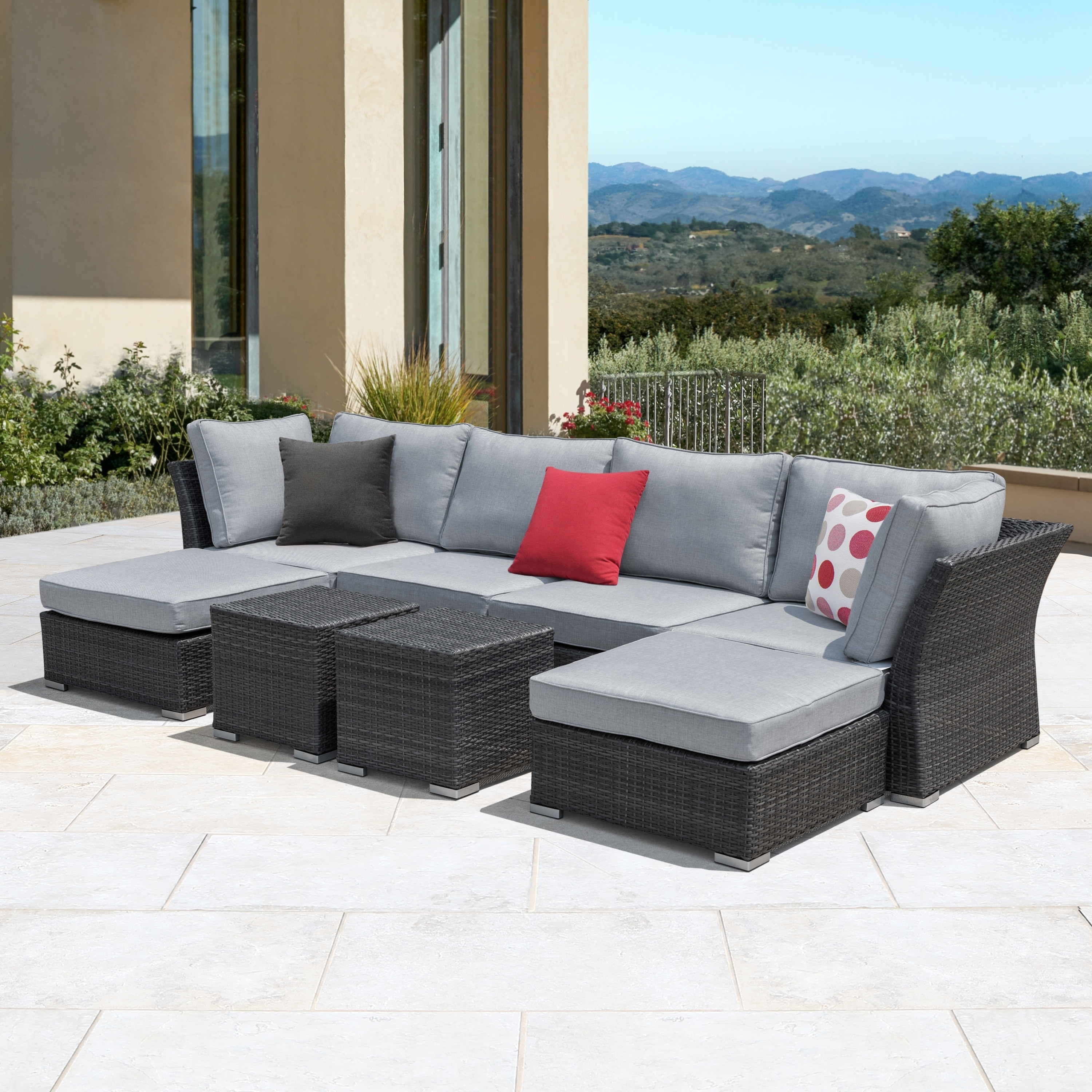 Shop corvus 8 piece grey wicker patio furniture set with blue cushions on sale free shipping today overstock com 12653586