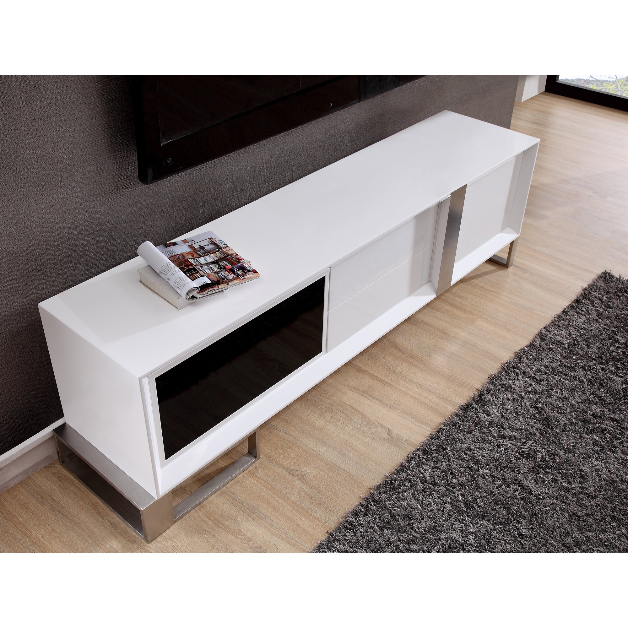 B Modern Entertainer White Glossy Finish Tv Stand With Black Ir