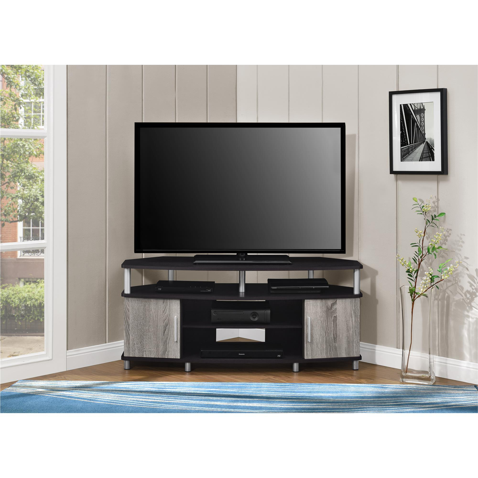 Bon Shop Ameriwood Home Carson Espresso/Weathered Oak Corner TV Stand For TVs  Up To 50 Inches   Free Shipping Today   Overstock.com   12653633