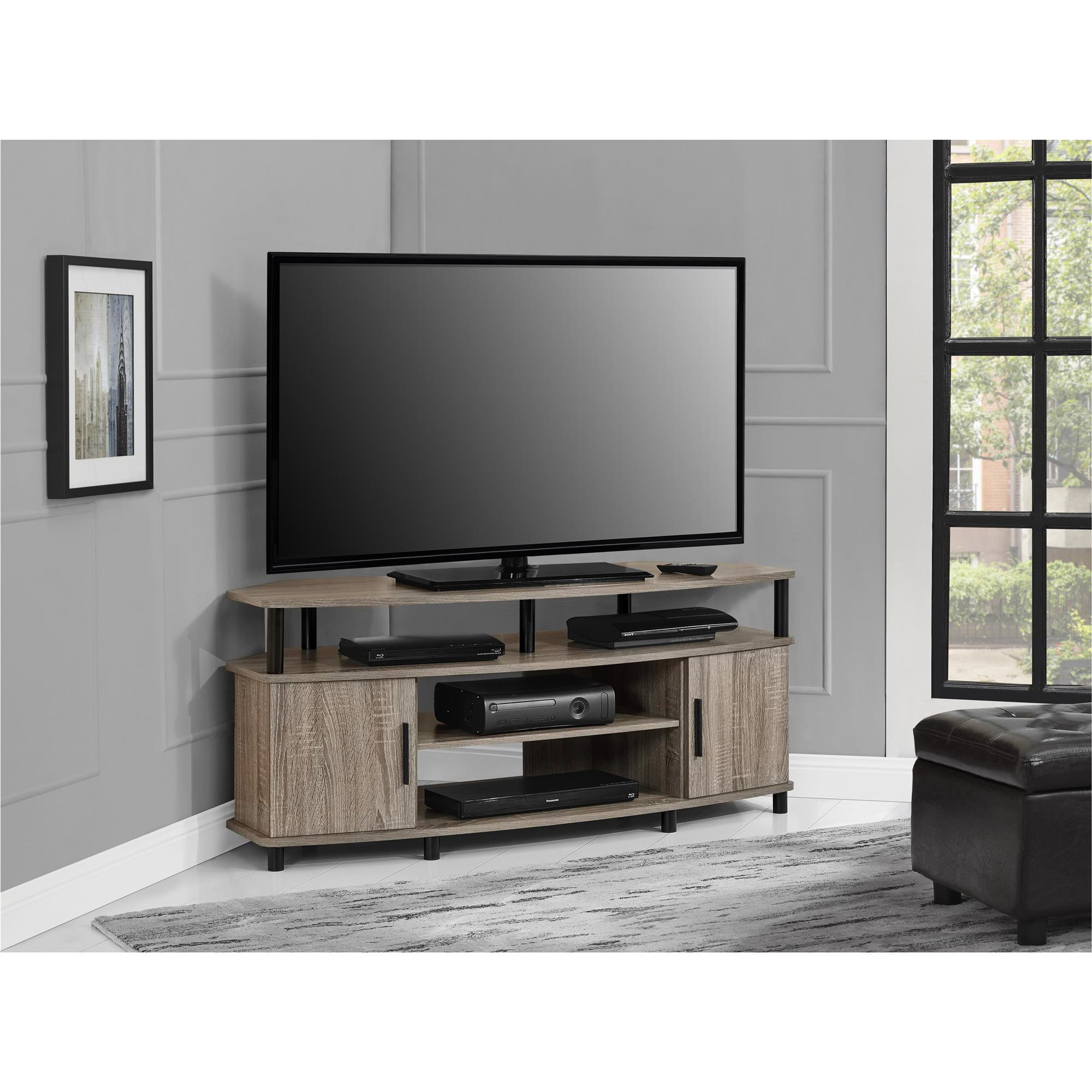 shop ameriwood home carson 50 inch sonoma oak corner tv stand free shipping today overstockcom 12653718 - Corner Tv Stands 50 Inch