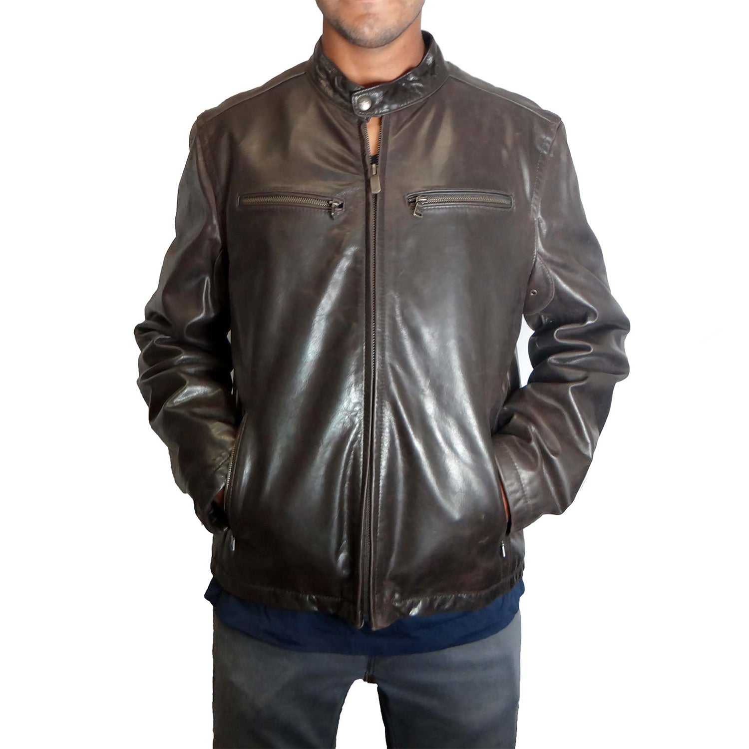 494cb5252e4 Shop Dockers Men s Moto Black Leather Jacket - Free Shipping Today -  Overstock - 12653908