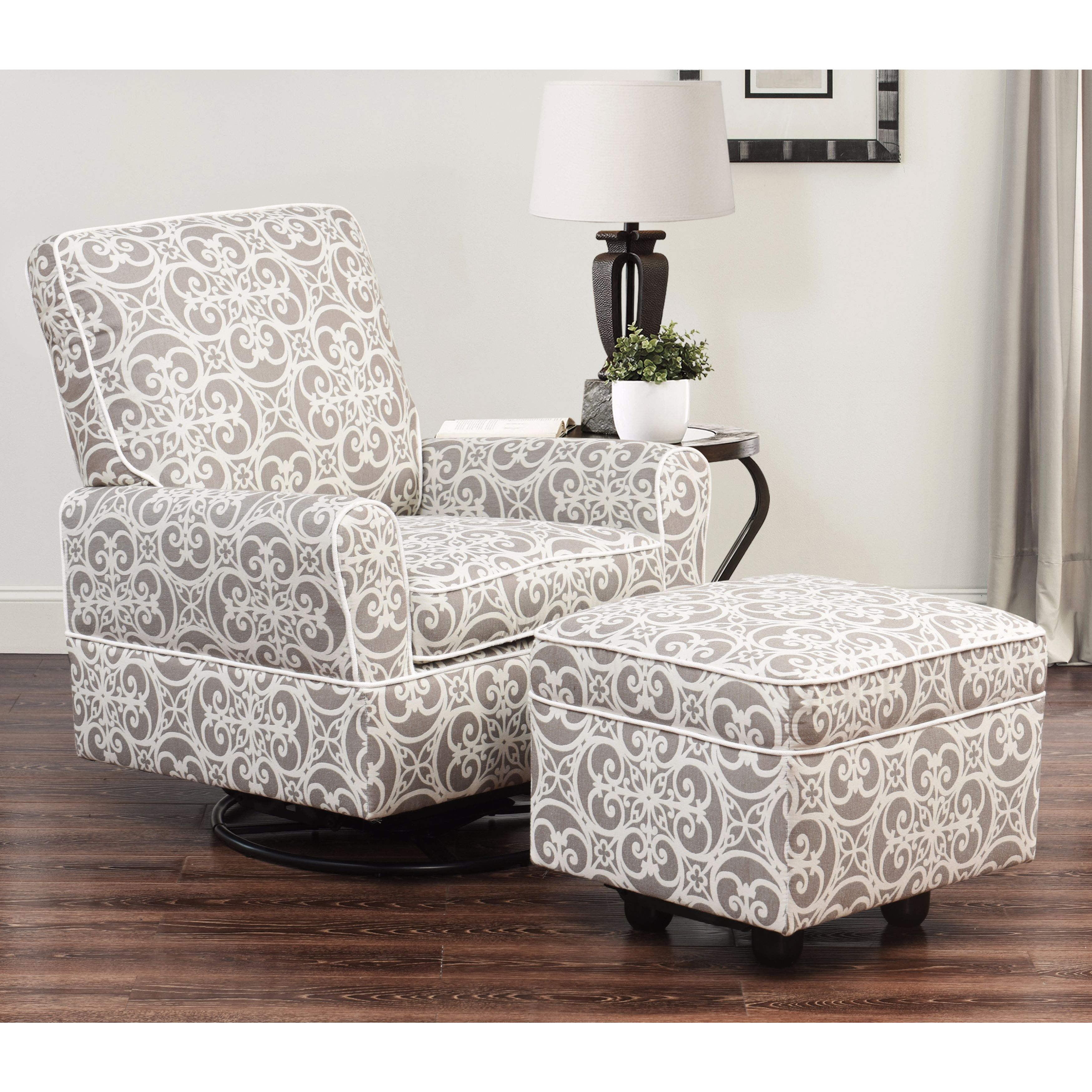 Bon Shop Abbyson Chase Grey Floral Wood/Fabric Swivel Glider Chair And Ottoman    Free Shipping Today   Overstock.com   12653971