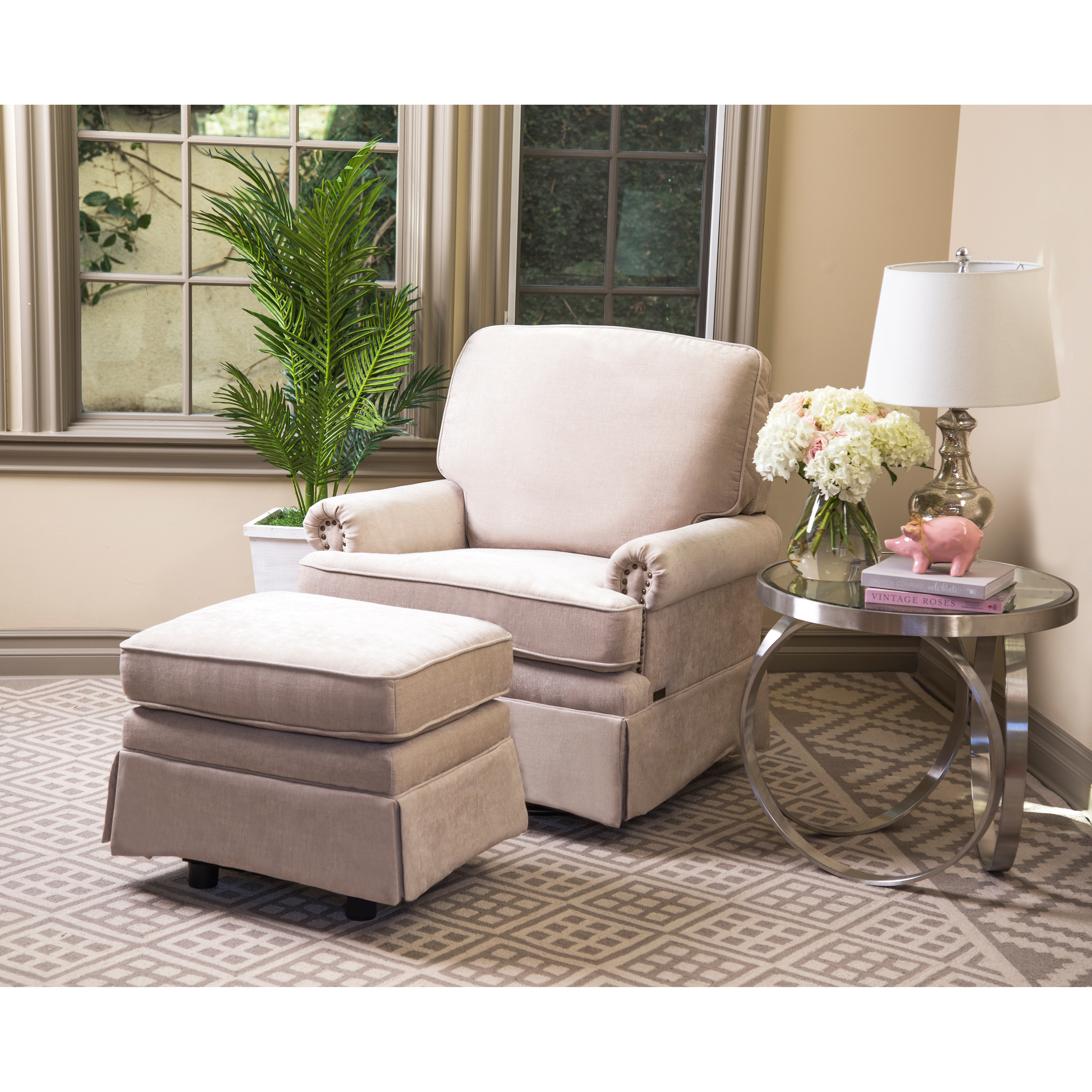Superbe Shop Abbyson Chloe Cream Hardwood/Steel/Fabric Swivel Glider Chair And  Ottoman   On Sale   Free Shipping Today   Overstock.com   12654015