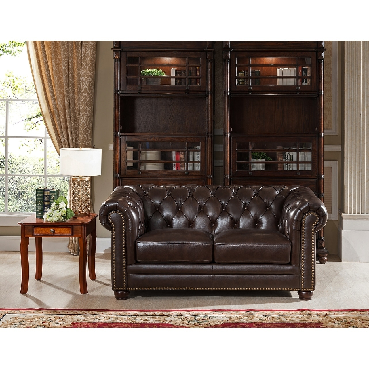 c3abbedb0b56 Kensington Top Grain Leather Chesterfield Loveseat With Feather