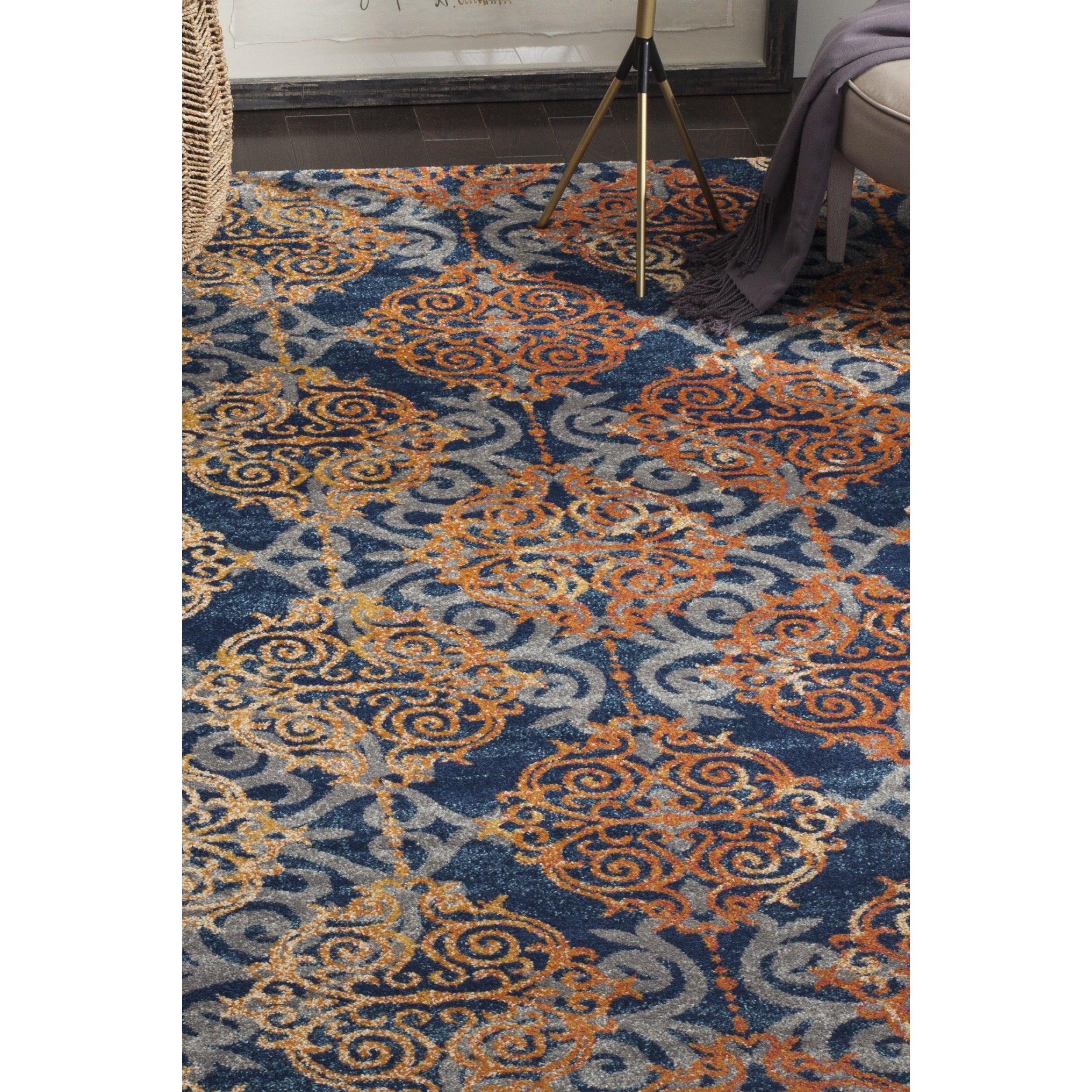 safavieh evoke vintage damask blue orange distressed rug (' x ')  freeshipping today  overstockcom  . safavieh evoke vintage damask blue orange distressed rug (' x