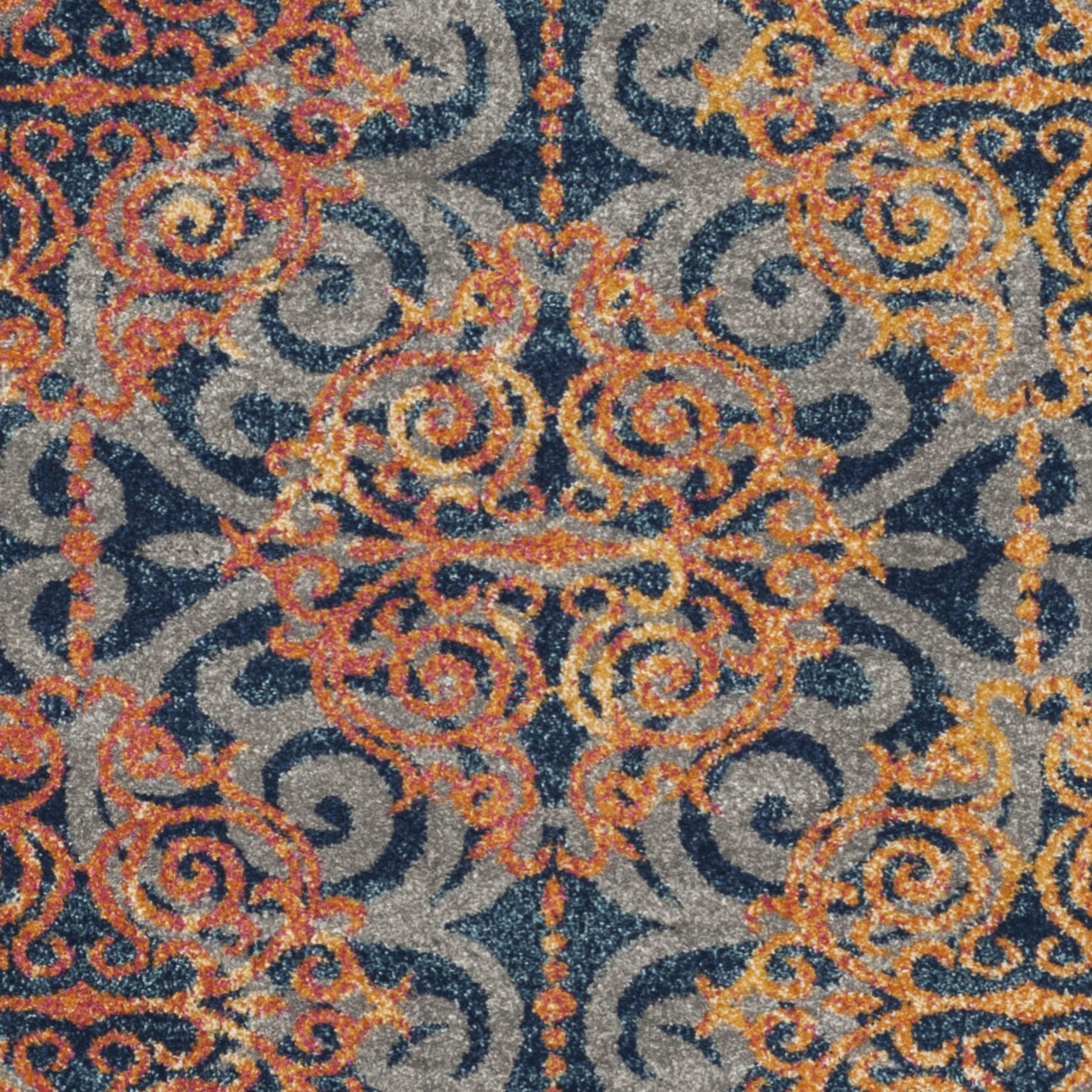Safavieh Evoke Vintage Damask Blue Orange Distressed Rug 9 x 12