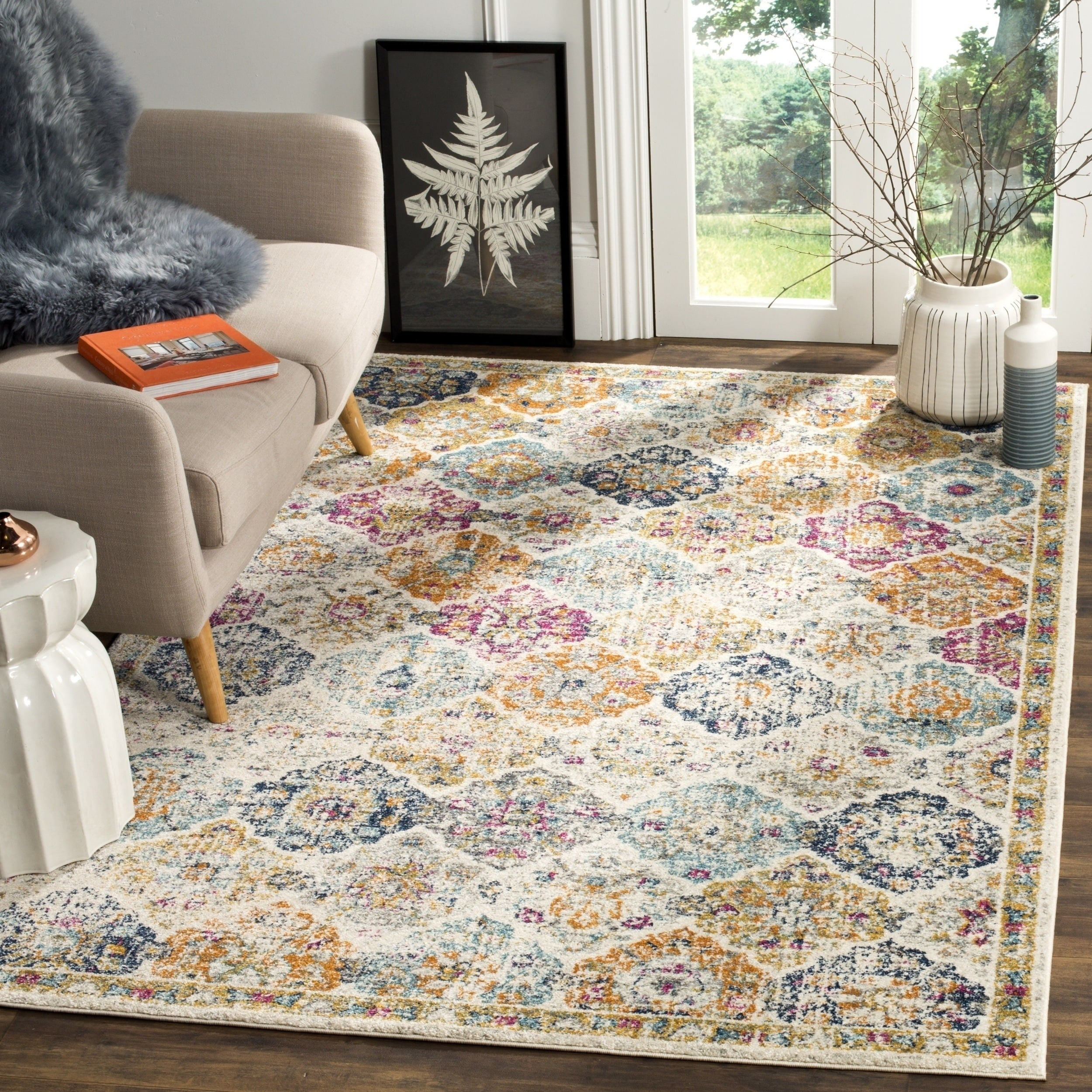 Safavieh Madison Bohemian Vintage Cream Multi Distressed Rug 8 X 10 On Free Shipping Today Com 12659869