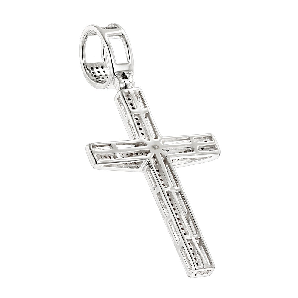 1cbbd46569217c Shop Luxurman 14k Gold .5ct TDW Round Pave Diamond Cross Pendant Necklace -  On Sale - Free Shipping Today - Overstock - 12662030