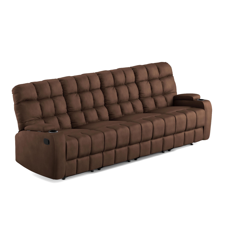 Shop Oliver U0026 James Saskia Brown Microfiber 4 Seat Recliner Sofa   On Sale    Free Shipping Today   Overstock.com   20689841