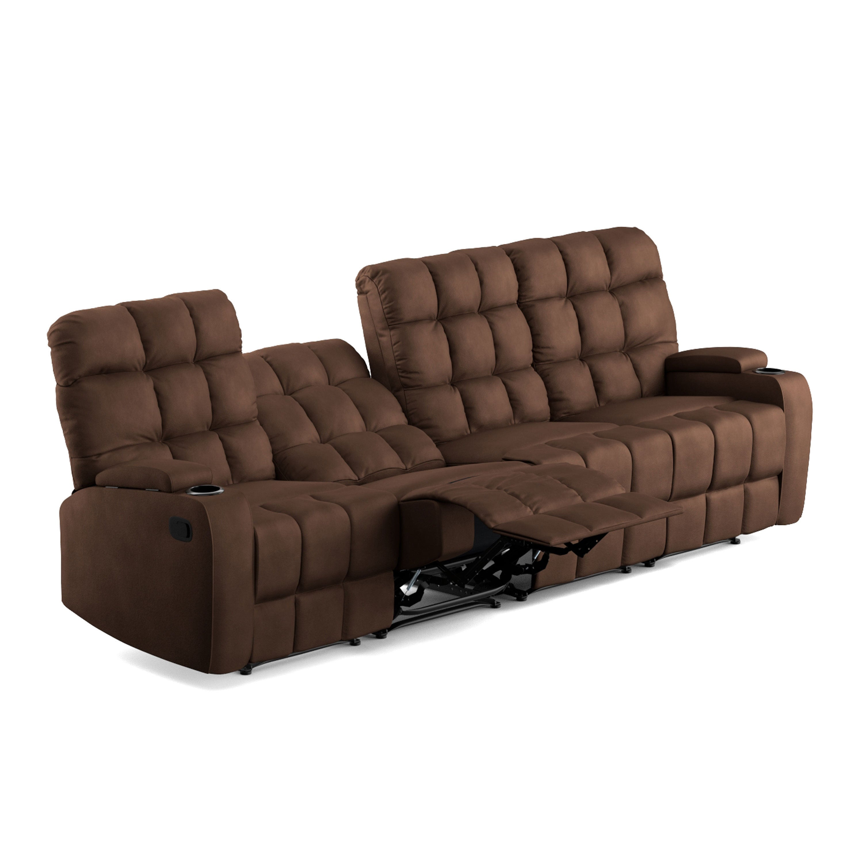 Oliver James Saskia Brown Microfiber 4 Seat Recliner Sofa On Free Shipping Today 20689841