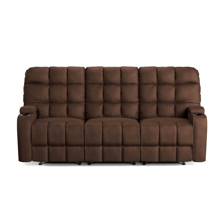 Prolounger Brown Microfiber Wall Hugger Storage 3 Seat Reclining  ~ Traditional Reclining Sofa