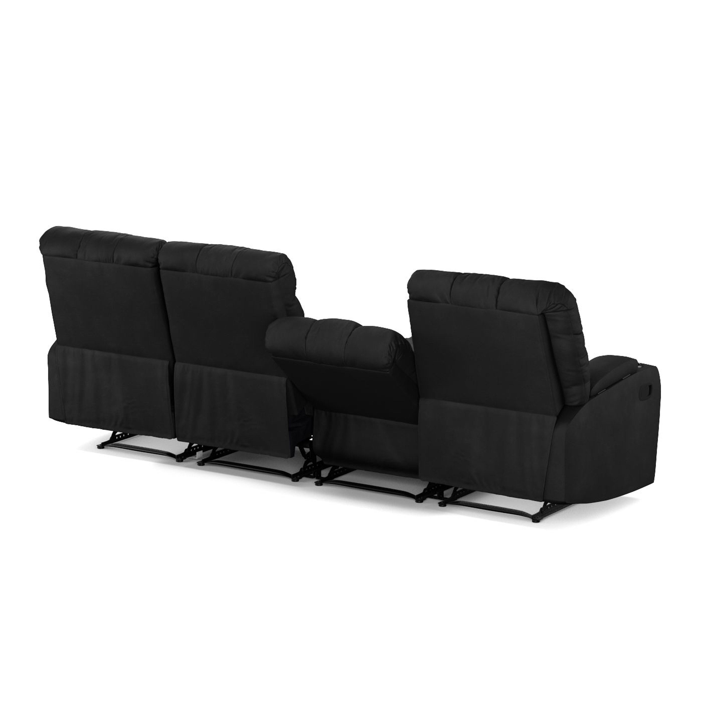 Shop Oliver U0026 James Saskia Black Microfiber Storage Reclining Sofa   On  Sale   Free Shipping Today   Overstock.com   20133357