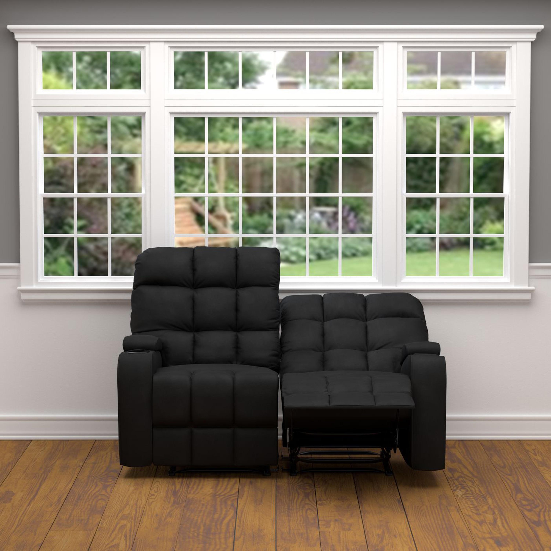 Shop Strick Bolton Saskia Black Microfiber 2 Seat Recliner