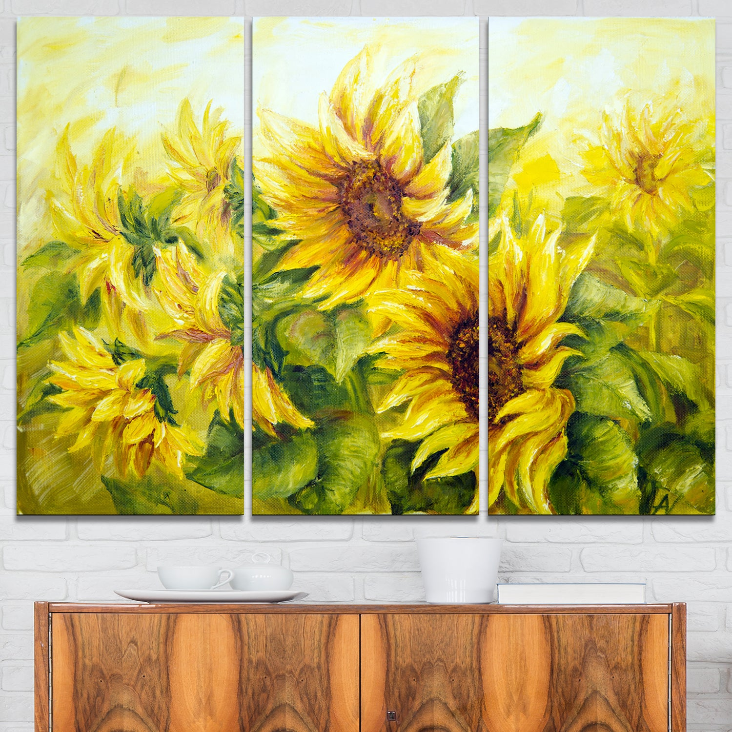 Bright Yellow Sunny Sunflowers - Floral Painting Glossy Metal Wall ...