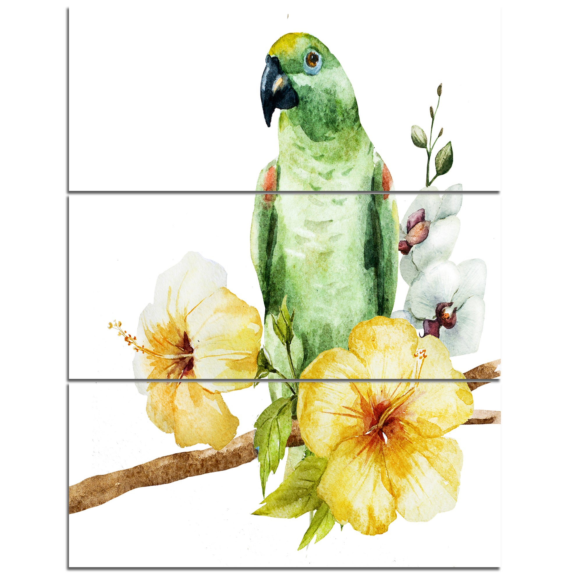 Shop Parrot with Flowers Watercolor - Floral Painting Glossy Metal ...