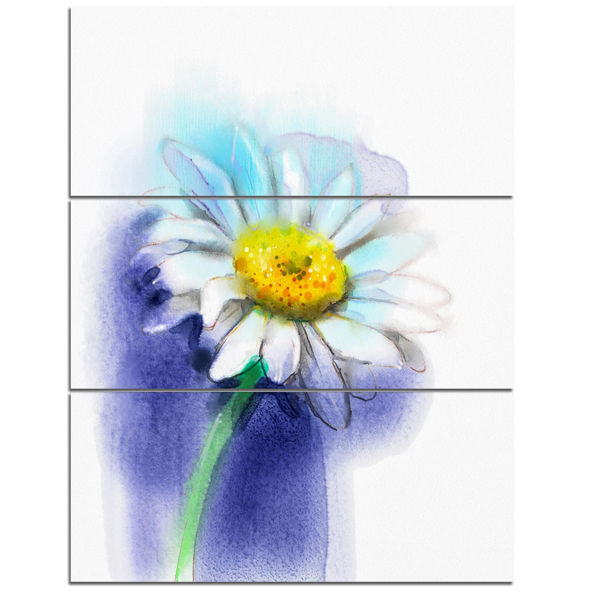 White Gerbera Daisy In Blue Flower Large Metal Wall Art 36wx28h
