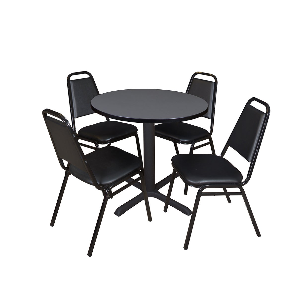 Cain Inch Round Breakroom Table With Restaurant Stack Chairs - 30 inch round office table