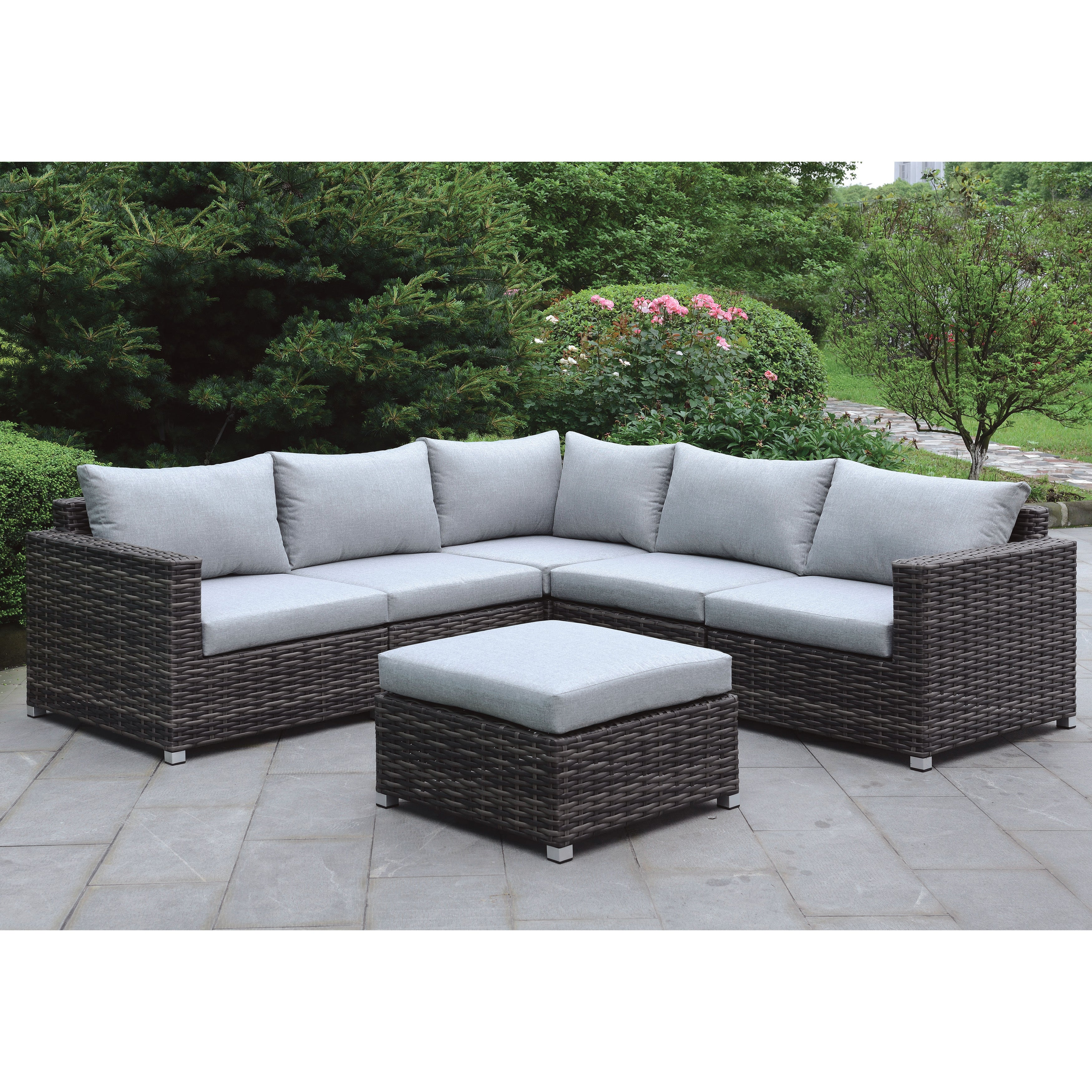 Brea Contemporary Grey Patio Sectional And Ottoman Set By Foa 2 Piece