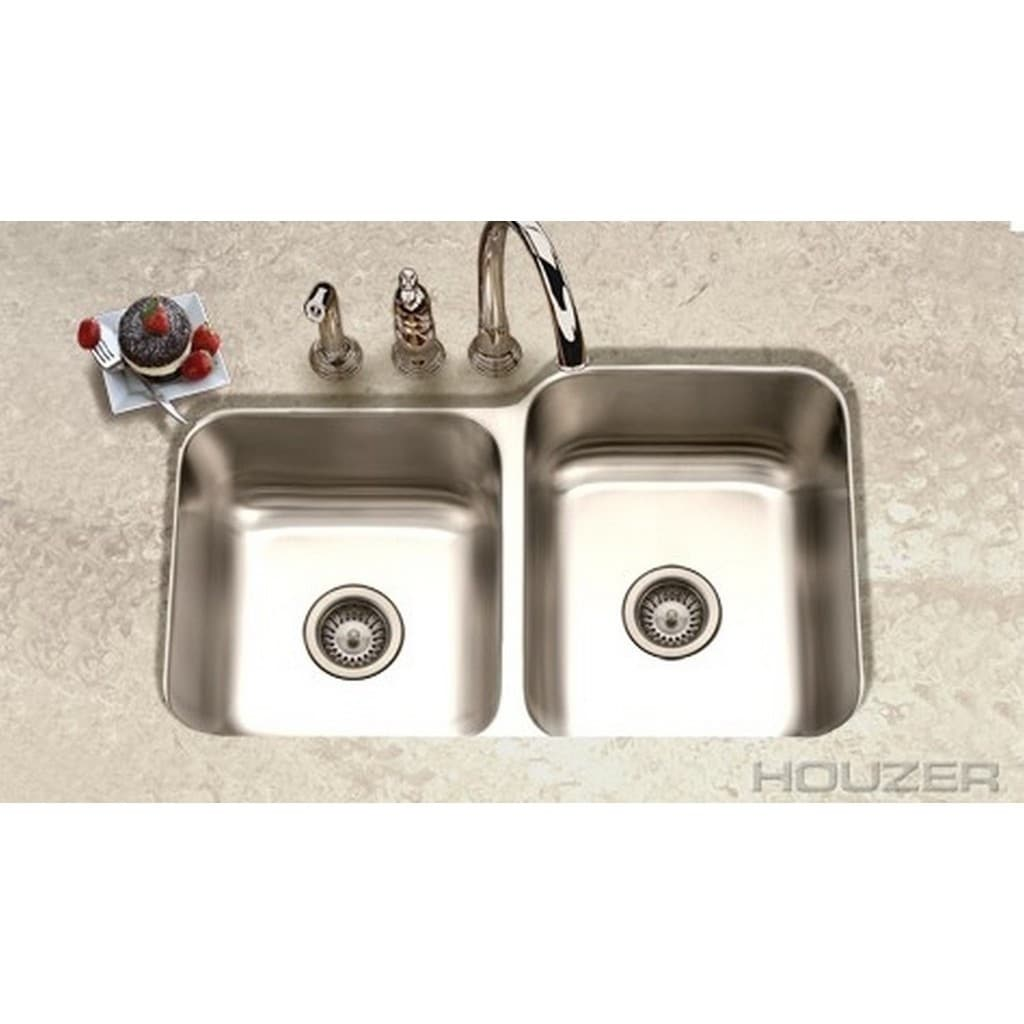 Shop Houzer Elite Satin 20-gauge Stainless Steel 8-inch-deep 60/40 ...