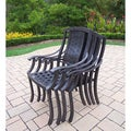 Oakland Living Corporation Premium Antique Black Aluminum Stackable High-back Chairs (Pack of 4)
