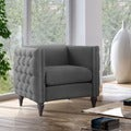 Furniture of America Clara Tuxedo Linen Tufted Nailhead Arm Chair