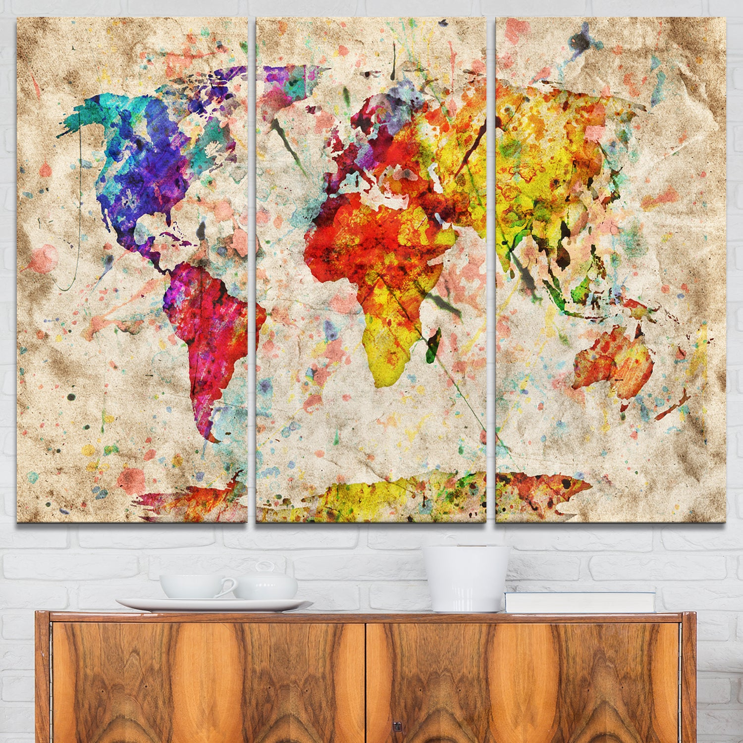 Vintage world map watercolor maps painting glossy metal wall art vintage world map watercolor maps painting glossy metal wall art free shipping today overstock 19466071 gumiabroncs Images