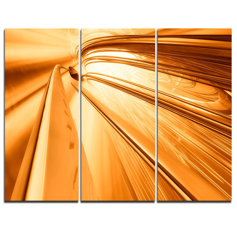 Shop Fractal 3D Brown Stripes - Abstract Art Glossy Metal Wall Art ...