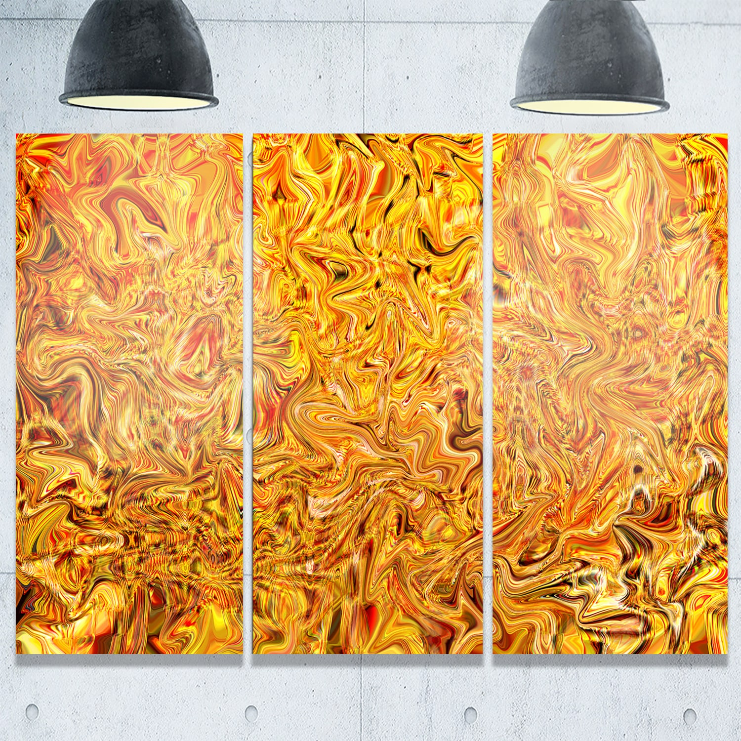 Textured Flowing Yellow - Abstract Art Glossy Metal Wall Art - 36 x ...